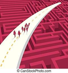 gruppo, road., passeggiata, attraverso, uomini affari, freccia, maze.