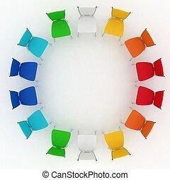 gruppo, sedie, costi, fondo, bianco, rotondo