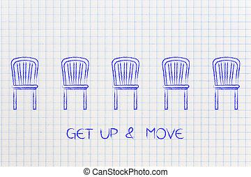 gruppo, &, sedie, muova, didascalia, ottenere