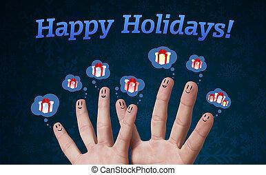 gruppo, segno, smileys, dito, vacanze, felice