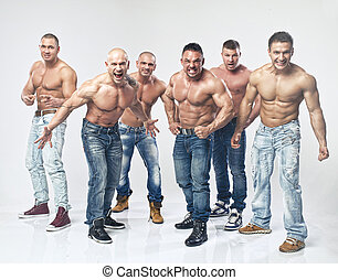 gruppo, sei, giovane, muscolare, nudo, proposta, bagnato, sexy, bello, uomo