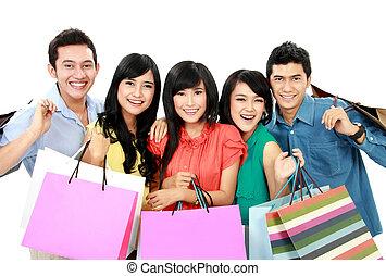 gruppo, shopping, persone