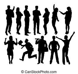 gruppo,  silhouette, affari, Persone