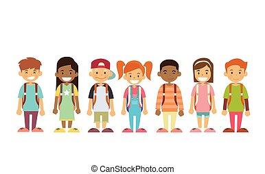 gruppo, standing, bambini, linea, scuola