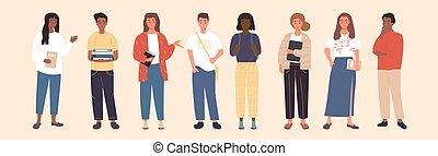 gruppo, standing, linea, multicultural, studenti
