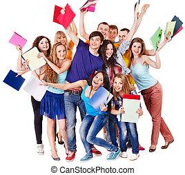 gruppo, studente, notebook.
