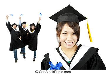gruppo, studenti, giovane, laureato, asiatico, ragazza sorridente, felice