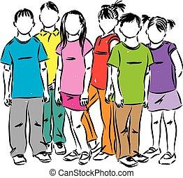 gruppo, studenti, illustrazione, bambini primi passi, vettore, bambini