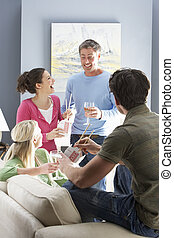 gruppo, takeaway cinese, casa, godere, amici, pasto