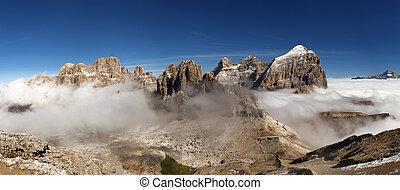 gruppo, tofana, -, dolomities, panoramico, italiano, vista