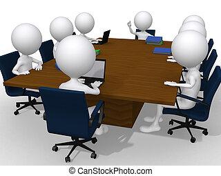 gruppo, ufficio, affari, discussione, moderno, riunione, 3d