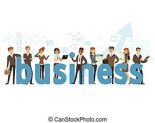 gruppo, ufficio affari, persone, illustrazione, vettore, presa a terra, parola, sorridente, colorito, cartone animato