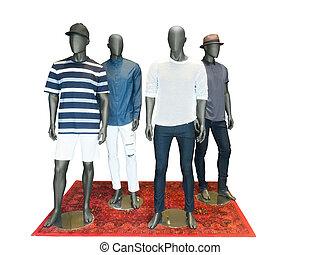 gruppo uomini, indossatrici