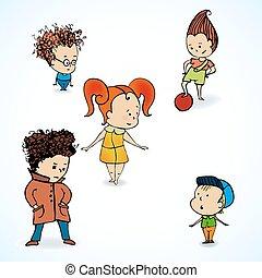 gruppo, vettore, illustrazione, bambini