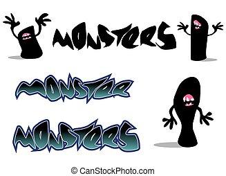 gruselig, schriftart, zeichen, monster, o