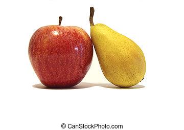 gruszka, odizolowany, jabłko