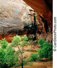 gruta, e, arco, parque nacional canyonlands, moab, utah