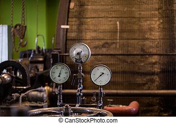 gruvdrift, årgång, bemyndiga, vinsch, engine., ånga