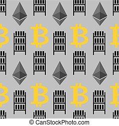 gruvdrift, lantgård, pattern., bitcoin, illustration, seamless, cryptocurrency, bakgrund., vektor