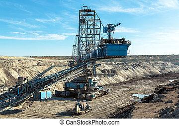 gruvdrift, maskiner, in, den, min