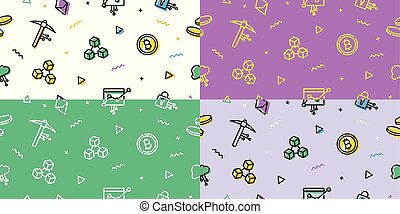 gruvdrift, skissera, mönster, tapet, blockchain, bitcoin, crypto, cryptocurrency, ethereum, seamless, bakgrund, ikon
