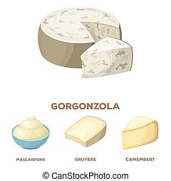 Gruyere, camembert, mascarpone, gorgonzola. Different types of cheese set collection icons in cartoon style vector symbol stock illustration web.