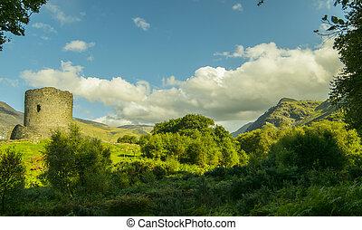 gruzy, llanberis, krajowy, snowdonia, park, dolbadarn zamek