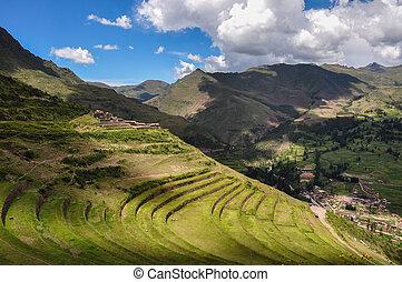 gruzy, poświęcony, incas, peru, dolina, pisac