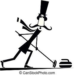 gry, curling, górny, odizolowany, ilustracja, kapelusz, wąsy, człowiek