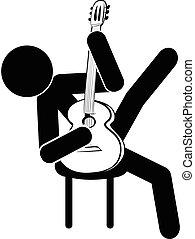 gry, klasyczna figura, gitara, wtykać, siada, człowiek