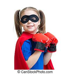 gry, superhero, dziewczyna, koźlę