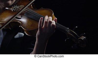 gry, zawiera, do góry, łuk, wiolinista, tło., czarnoskóry, zamknięcie