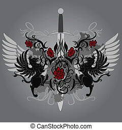 gryphon, デザイン, ファンタジー, 剣, ばら
