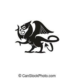 gryphon, 獣, 紋章学, 動物, ドラゴン, 隔離された