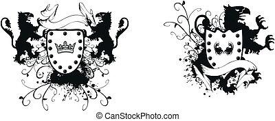 gryphon, agasalho, heraldic, braços, set5