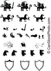 gryphon, belægge, heraldiske, sæt, arme