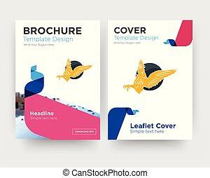 gryphon, brochure, aviateur, conception, gabarit