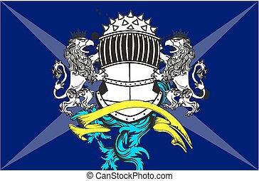 gryphon, chamarra, heráldico, arms10