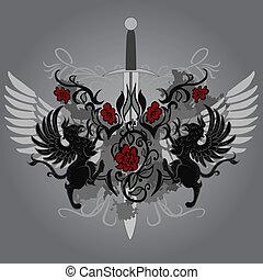 gryphon, diseño, fantasía, espada, rosas