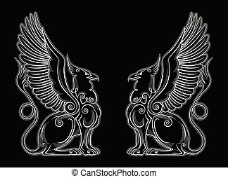 Gryphon mythical creature power and strength symbol vector...