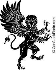 gryphon, rampant, grifo, chamarra, cresta, mascota, brazos
