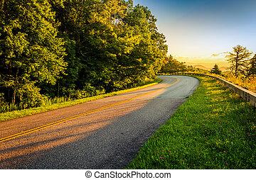 grzbiet, carolina., wschód słońca, błękitny, aleja, północ