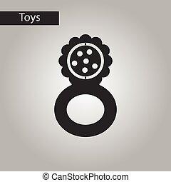 grzechot, styl, zabawka, czarnoskóry, biały