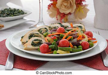 grzyby, warzywa, rulada, kurczak, szpinak