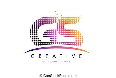 GS G S Letter Logo Design with Magenta Dots and Swoosh - GS...
