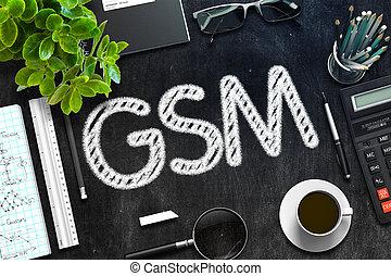 GSM Concept on Black Chalkboard. 3D Rendering.