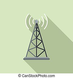 Gsm tower icon, flat style - Gsm tower icon. Flat...