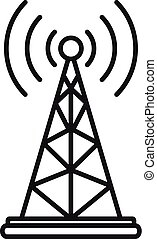 Gsm tower icon, outline style - Gsm tower icon. Outline gsm...