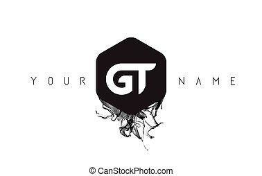 GT Letter Logo Design with Black Ink Spill - GT Black Ink...