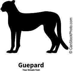 guépard, vecteur, silhouette, illustration